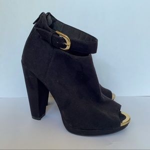 H&M Black Suede Ankle Booties, size 5.5
